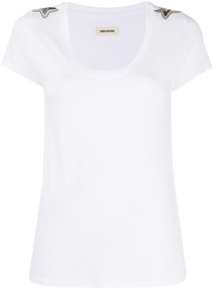 Zadig & Voltaire bead-embellished scoop-neck T-shirt