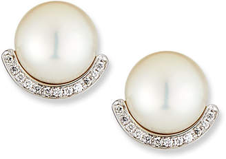 BELPEARL 18k White Gold Pearl-Stud Diamond-Half Earrings