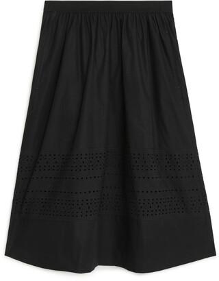 Arket A-Line Broderie Anglaise Skirt