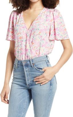 ALL IN FAVOR Flutter Sleeve Floral Print Bodysuit