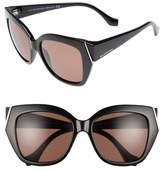 Balenciaga Women's 57Mm Cat Eye Sunglasses - Shiny Black/ Brown