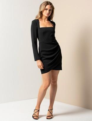 Forever New Cara Long-Sleeve Mini Dress - Black - 10