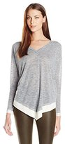 Splendid Women's Cozy Melange Color Block Top