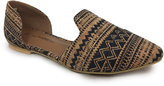 C Label Black & Cork Geometric Caito D'Orsay Flat