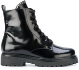 Twin-Set lace detail combat boots - women - Leather/Patent Leather/rubber - 35