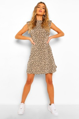 boohoo Dalmation Print Shoulder Pad Skater Dress