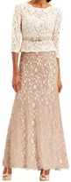 Adrianna Papell Quarter Sleeve Lace Gown 81907760
