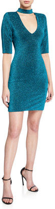 Alice + Olivia Inka Metallic Strong Shoulder V-Neck Mini Dress w/ Collar