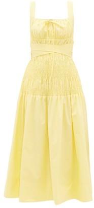 Self-Portrait Belted Shirred Cotton Midi Dress - Womens - Yellow