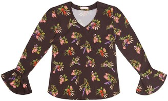 Tomcsanyi Svetlana Lame Flower Print V Neck Cone Sleeve Top