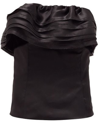 Alexandre Vauthier Tiered-trim Satin-organza Bustier Top - Black