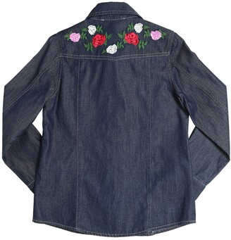 Miss Blumarine FLORAL EMBROIDERED COTTON CHAMBRAY SHIRT