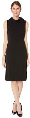 Tahari ASL Petite Sleeveless Stretch Crepe Sheath Dress with Envelope Collar (Black) Women's Dress