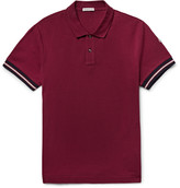 Moncler - Slim-fit Contrast-trimmed Cotton-piqué Polo Shirt