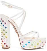 Aquazzura Disco 140 Crystal-embellished Platform Sandals - Womens - White