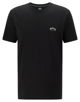HUGO BOSS Cotton Jersey T Shirt With Curved Logo - Black