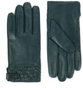 Ted Baker Woven Leather Gloves Dark Green
