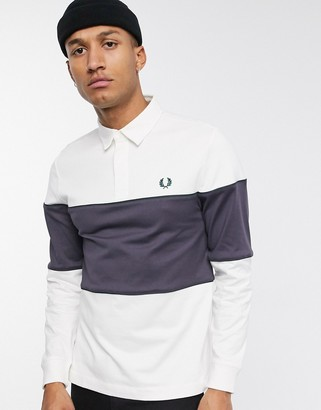 Fred Perry rugby colour block polo in white and grey