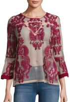 MinkPink Sweetest Sound Embroidered Sheer Blouse