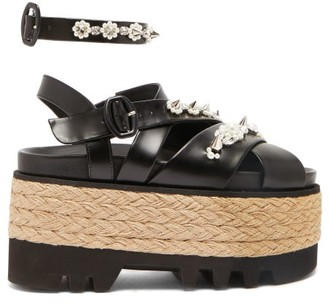 Simone Rocha Embellished Leather Espadrille Flatform Sandals - Womens - Black