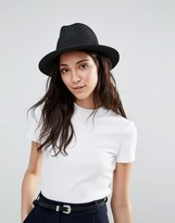 Liquorish Straw Trilby Hat With Ribbon