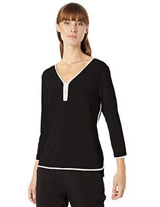 Calvin Klein Women's Piped 3/4 Sleeve Top with Zipper