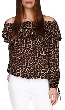 MICHAEL Michael Kors Leopard Off-the-Shoulder Peasant Top