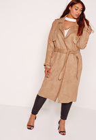 Missguided Plus Size Raw Seam Faux Suede Trench Coat Camel