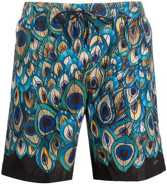 Dolce & Gabbana Peacock Print Swimming Trunks