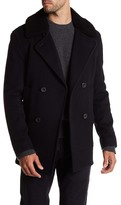 Vince Double Breasted Fur Trim Peacoat