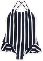 Milly Minis Striped One-Piece Swimsuit w/ Ruffle Trim, Size 4-7