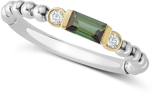 Lagos 18K Gold & Sterling Silver Green Tourmaline & Diamond Stacking Ring
