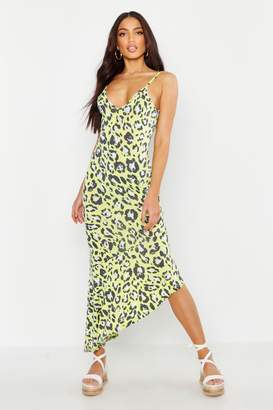 boohoo Bright Leopard Asymmetric Hem Maxi Dress