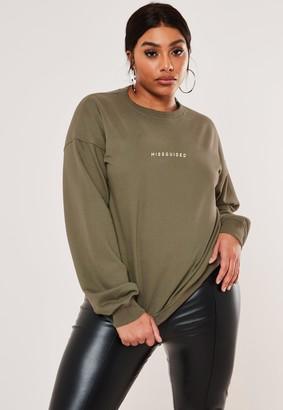Missguided Plus Size Green Oversized Crew Neck Sweatshirt