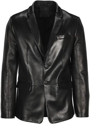 Prada Single Breasted Leather Blazer