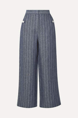Max Mara Formia Cropped Pinstriped Linen Wide-leg Pants - Navy