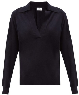Allude Open-collar Cashmere Sweater - Navy
