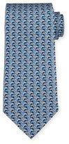 Salvatore Ferragamo Horse Head-Print Silk Tie, Blue/Gray