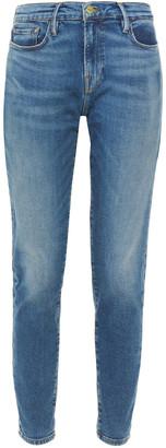 Frame Le Garcon Faded Mid-rise Slim-leg Jeans