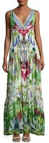 Camilla Tiered Sleeveless Silk Maxi Dress, Exotic Hypnotic