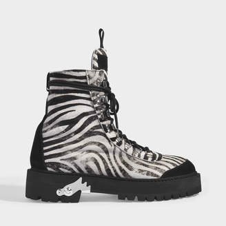 Off-White Off White All Over Hiking Boots In Zebra Printed Calf Leather