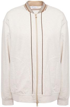 Brunello Cucinelli Bead-embellished Melange French Cotton-blend Terry Jacket