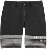 Stone Island Charcoal Striped Cotton Shorts