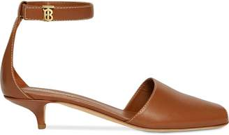 Burberry Monogram Motif Leather Kitten-heel Sandals