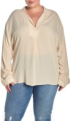 ALL IN FAVOR Spread Collar Woven Shirt (Plus Size)