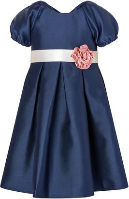 Monsoon Baby Corsage Belt Duchess Twill Dress Blue