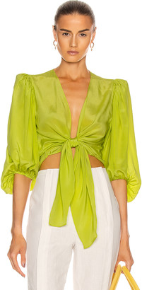Adriana Degreas Solid Shirt With Voluminous Sleeves in Yellow | FWRD