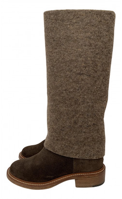 Chanel Brown Tweed Boots