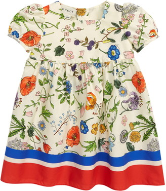Gucci Floral Puff Sleeve Cotton Dress