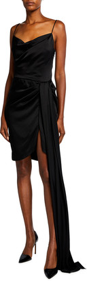 Monique Lhuillier Satin Draped Mini Dress w/ Sash